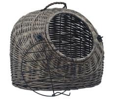 Szürke természetes fűzfa macskaszállító kosár 60 x 45 x 45 cm - utánvéttel vagy ingyenes szállítással