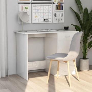 Magasfényű fehér forgácslap íróasztal 100 x 50 x 7...