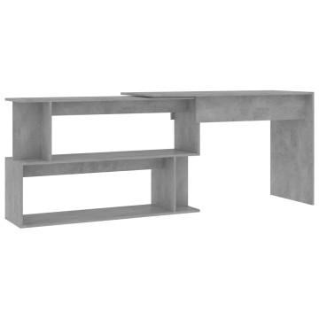 Betonszürke forgácslap sarokasztal 200 x 50 x 76 cm - utánvéttel vagy ingyenes szállítással