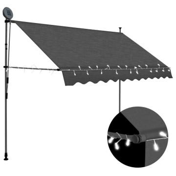 Antracitszürke kézzel kihúzható LED-es napellenző 300 cm - utánvéttel vagy ingyenes szállítással