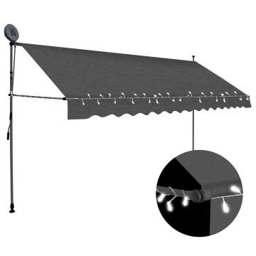 Antracitszürke kézzel kihúzható LED-es napellenző 350 cm - utánvéttel vagy ingyenes szállítással