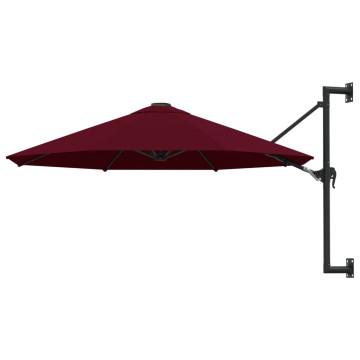 Burgundi vörös falra szerelhető napernyő fémrúddal, 300 cm - utánvéttel vagy ingyenes szállítással