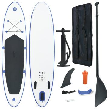 Felfújható kék és fehér állva evezős SUP szörfdeszka szett - utánvéttel vagy ingyenes szállítással