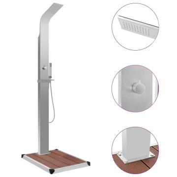 Kültéri WPC és rozsdamentes acél zuhany zuhanytálcával - utánvéttel vagy ingyenes szállítással