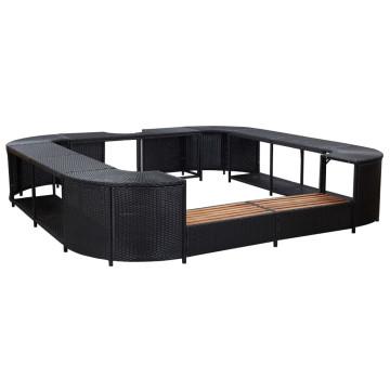 Fekete négyszög alakú polyrattan pezsgőfürdőkeret 268x268x55 cm - utánvéttel vagy ingyenes szállítással