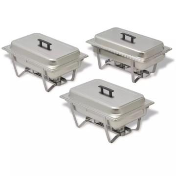 3 részes rozsdamentes acél chafing készlet - utánvéttel vagy ingyenes szállítással