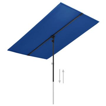 Azúrkék kültéri napernyő alumíniumrúddal 180 x 130 cm - utánvéttel vagy ingyenes szállítással