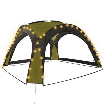 Zöld rendezvénysátor LED-del és 4 oldalfallal 3,6 x 3,6 x 2,3 m - utánvéttel vagy ingyenes szállítással