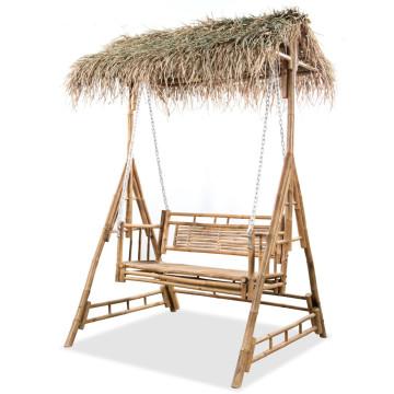 Kétszemélyes bambusz hintaágy pálmalevelekkel 202 cm - utánvéttel vagy ingyenes szállítással