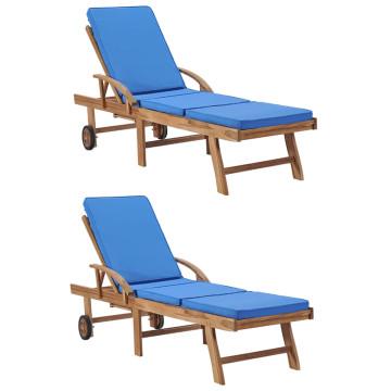 2 db kék tömör tíkfa napozóágy párnákkal - utánvéttel vagy ingyenes szállítással