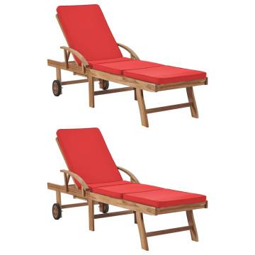 2 db piros tömör tíkfa napozóágy párnákkal - utánvéttel vagy ingyenes szállítással