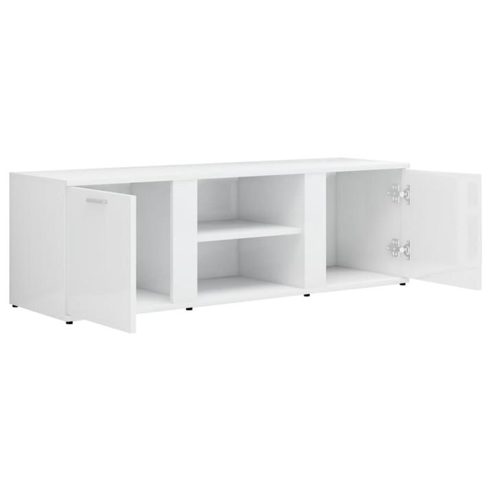 Magasfényű fehér forgácslap TV-szekrény 120 x 34 x 37 cm - utánvéttel vagy ingyenes szállítással
