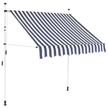 Kézzel feltekerhető napellenző kék-fehér csíkokkal, 200 cm - ingyenes szállítás