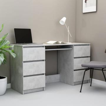 Betonszürke forgácslap íróasztal 140 x 50 x 77 cm - utánvéttel vagy ingyenes szállítással