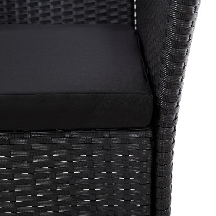 5 részes fekete polyrattan kültéri étkezőgarnitúra párnákkal - utánvéttel vagy ingyenes szállítással