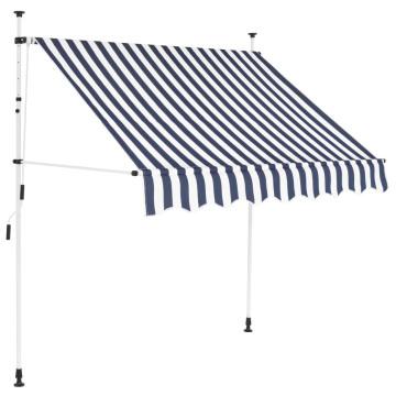 Kézzel feltekerhető napellenző kék-fehér csíkokkal 150 cm - ingyenes szállítás