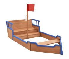 Kalózhajó formájú fenyőfa homokozó 190 x 94,5 x 136 cm - utánvéttel vagy ingyenes szállítással