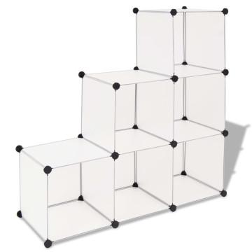 Fehér kocka alakú tároló 6 tárolórekesszel - utánvéttel vagy ingyenes szállítással