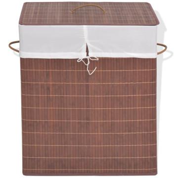 Barna, téglalap alakú bambusz szennyestartó kosár - utánvéttel vagy ingyenes szállítással