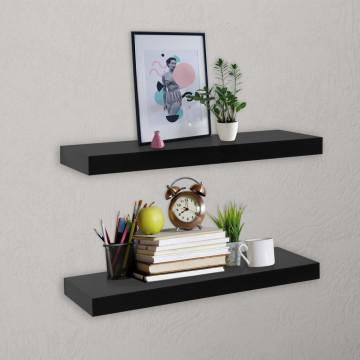 2 darab fekete lebegő fali polc 40 x 20 x 3,8 cm - utánvéttel vagy ingyenes szállítással