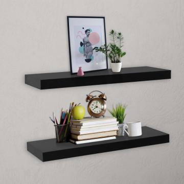 2 darab fekete lebegő fali polc 60 x 20 x 3,8 cm - utánvéttel vagy ingyenes szállítással