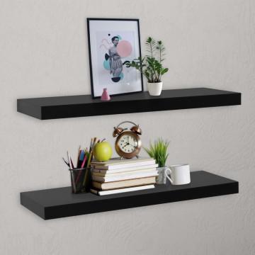 2 darab fekete lebegő fali polc 100 x 20 x 3,8 cm - utánvéttel vagy ingyenes szállítással