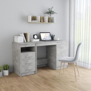 Betonszürke forgácslap íróasztal 140 x 50 x 76 cm - utánvéttel vagy ingyenes szállítással