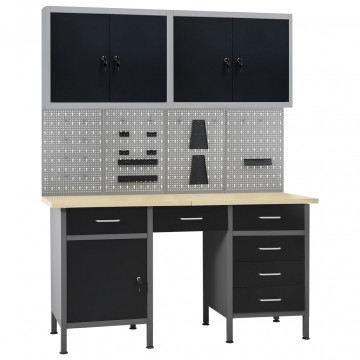 Munkapad négy fali panellel és két szekrénnyel - utánvéttel vagy ingyenes szállítással