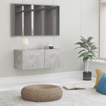 Betonszürke forgácslap TV-szekrény 80 x 30 x 30 cm - utánvéttel vagy ingyenes szállítással