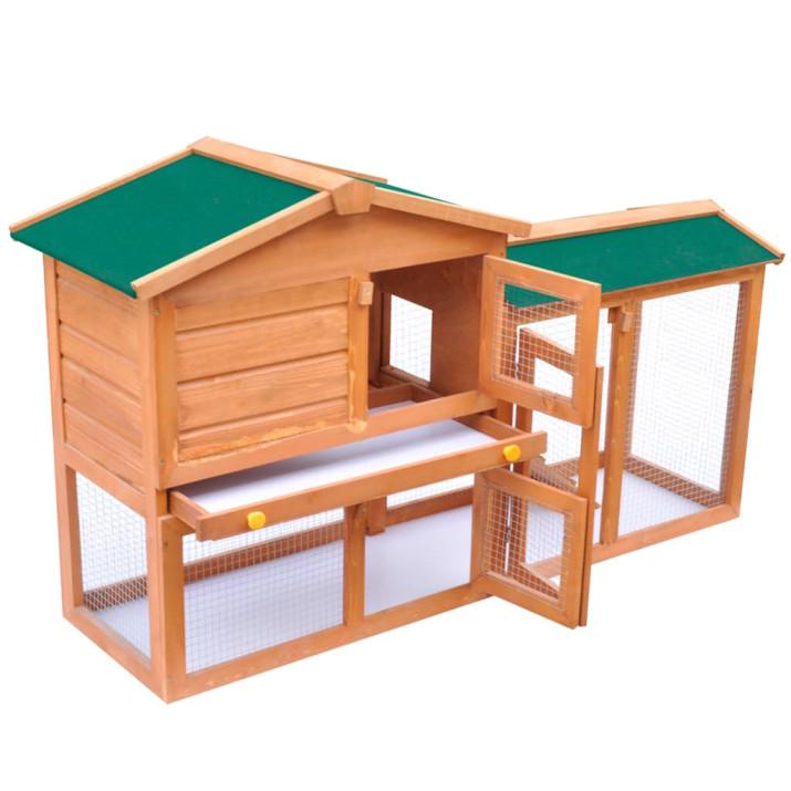 Kültéri nagyméretű fa nyúlketrec/kisállatketrec - utánvéttel vagy ingyenes szállítással