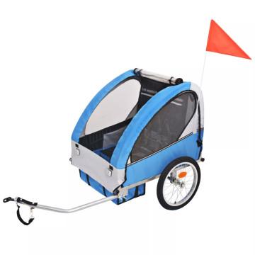 Szürke és kék gyerek kerékpár utánfutó 30 kg - ingyenes szállítás
