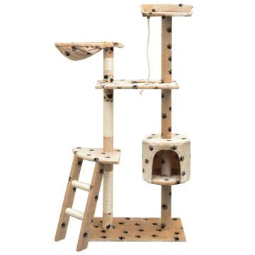 Bézs macskabútor mancsnyomokkal és szizál kaparófákkal 150 cm - utánvéttel vagy ingyenes szállítással