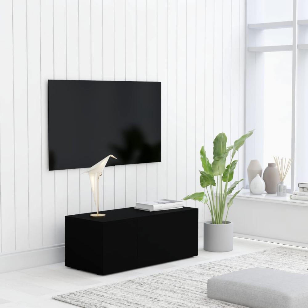 Fekete forgácslap TV-szekrény 80 x 34 x 30 cm - utánvéttel vagy ingyenes szállítással