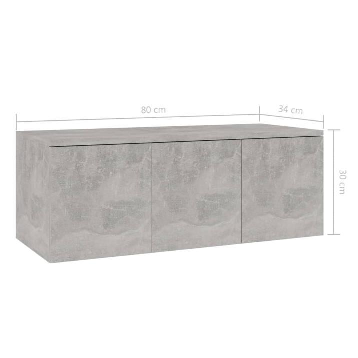 Betonszürke forgácslap TV-szekrény 80 x 34 x 30 cm - utánvéttel vagy ingyenes szállítással