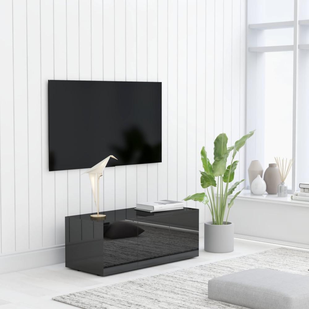 Magasfényű fekete forgácslap TV-szekrény 80 x 34 x 30 cm - utánvéttel vagy ingyenes szállítással