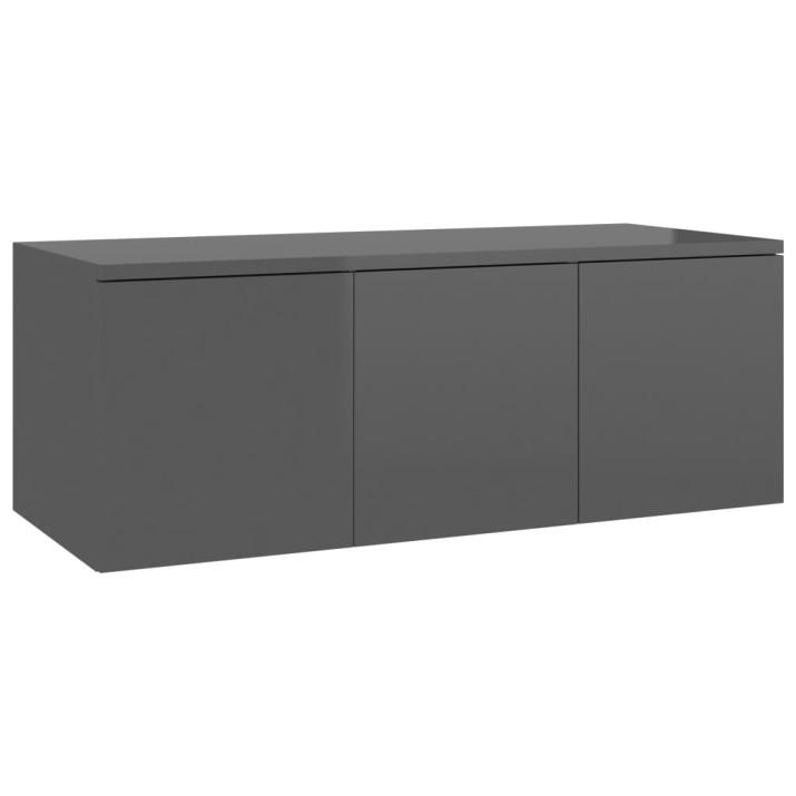 Magasfényű szürke forgácslap TV-szekrény 80 x 34 x 30 cm - utánvéttel vagy ingyenes szállítással