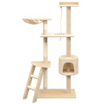 Bézs macskabútor szizál kaparófákkal 150 cm - utánvéttel vagy ingyenes szállítással