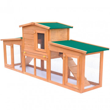 Nagyméretű fa nyúlketrec kisállatok számára, tetővel - utánvéttel vagy ingyenes szállítással