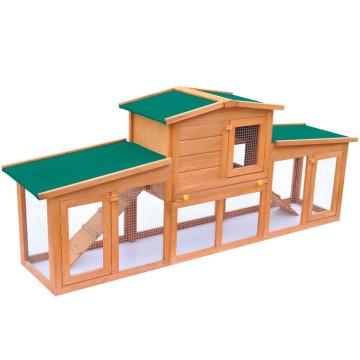 Nagyméretű fa nyúlketrec kisállatok számára, tetővel - ingyenes szállítás