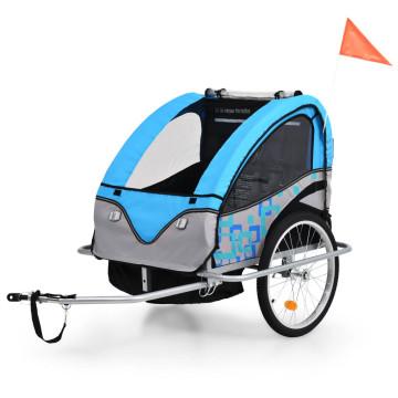 2 az 1-ben kék/szürke kerékpár utánfutó és babakocsi - ingyenes szállítás