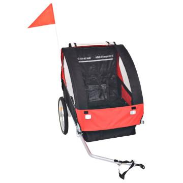 Piros és fekete gyerek kerékpár utánfutó 30 kg - ingyenes szállítás