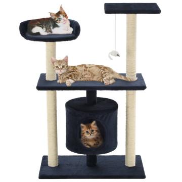 Sötétkék macskabútor szizál kaparófákkal 95 cm - utánvéttel vagy ingyenes szállítással
