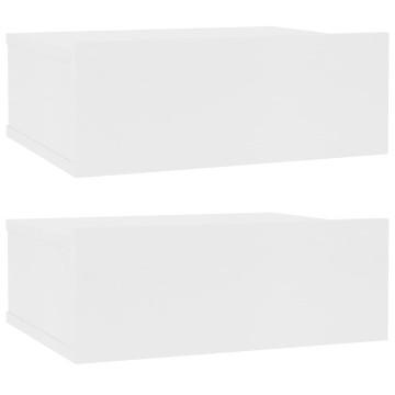 2 db fehér forgácslap úszó éjjeliszekrény 40 x 30 x 15 cm - utánvéttel vagy ingyenes szállítással