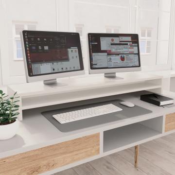 Fehér forgácslap monitorállvány 100 x 24 x 13 cm - utánvéttel vagy ingyenes szállítással