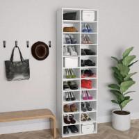 Fehér forgácslap cipősszekrény 54 x 34 x 183 cm - utánvéttel vagy ingyenes szállítással