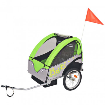 Szürke és zöld gyerek kerékpár utánfutó 30 kg - ingyenes szállítás
