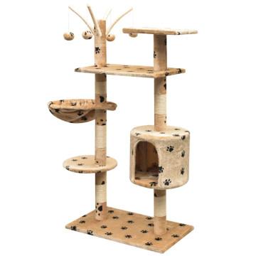 Bézs macskabútor mancsnyomokkal és szizál kaparófákkal 125 cm - utánvéttel vagy ingyenes szállítással