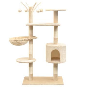 Bézs macskabútor szizál kaparófákkal 125 cm - utánvéttel vagy ingyenes szállítással