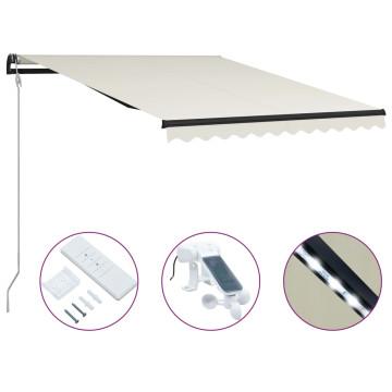 Krémszínű szélérzékelős és LED-es behúzható napellenző 300 x 250 cm - utánvéttel vagy ingyenes szállítással