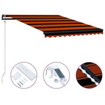 Narancssárga-barna szélérzékelős és LED-es napellenző 300x250cm - utánvéttel vagy ingyenes szállítással